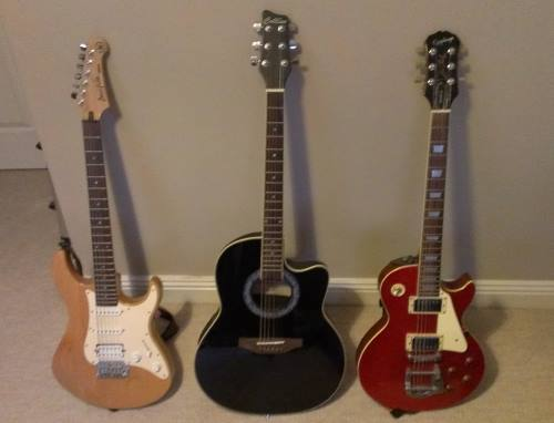 A range of guitars